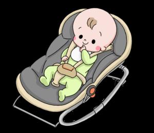 バウンサーにのる赤ちゃん