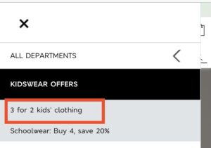 『3 for 2 on Kids' Clothing』をタップ